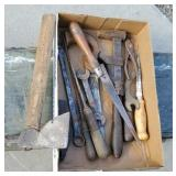Box of miscellaneous tools - including hatchet,