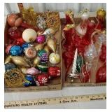 2 boxes of mostly glass Christmas ornaments