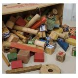 Market basket full of kids wooden blocks
