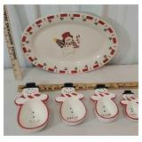 Snowman platter and set of measuring cups - The 1