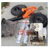 Leaf blower, small engine, wheel barrow wheels,