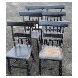 Set of 6 painted half back chairs