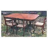Double pedestal Duncan Fhyfe table with 6 chairs