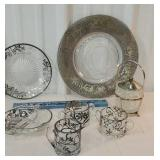 Box of silver overlay glassware