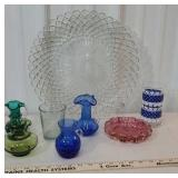 Box of glassware - blue pitchers, platter, etc