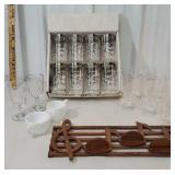 Box of silver overlay glasses, musical shelf,