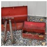 2 tool boxes with pumps and wrenches