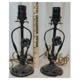 Pair of cast iron base lamps with original cloth