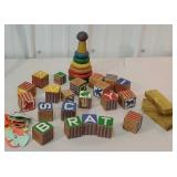 Box of early kids alphabet building blocks