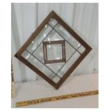 Beautiful beveled/leaded glass oak window with