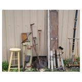 Group lot - set table legs, stool, bag cart, tire