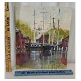 Signed vogt watercolor - unframed of sailboats