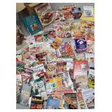 Large box of cookbooks and cooking magazines