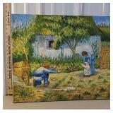 Picture on canvas - man with wheelbarrow