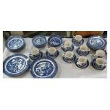 Set of Blue Willow China - service for 8