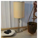 Mid century dish, stainless lamp, & planter