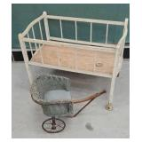 Wicker doll carriage and wooden crib