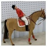 large Felt covered horse with rider made in west