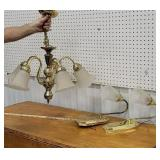 2 wall sconces and hanging light