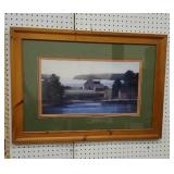 Print - in nice pine frame of house on water
