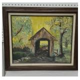 Covered bridge oil painting signed Terry T