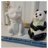 2 string holders - cat & panda bear
