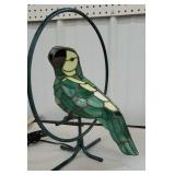Green stained glass parrot lamp