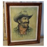 Biil Hampton - grizzly cowboy print in Oak frame