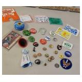 Box - pinback buttons, ring, silver coin, etc