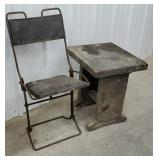 Primitive iron folding chair and small bench -