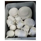 Plastic dish pan full of pfaltzgraff white China