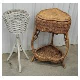 Heart shaped wicker sewing basket and planter