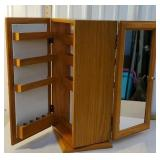 Swivel makeup organizer cabinet - mirrors on both