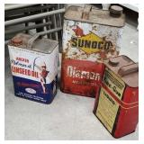 3 cans - sunoco, Archer linseed oil, and American