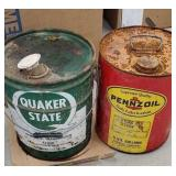 2 cans - Quaker state and Pennzoil