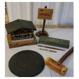 Box of wooden items incl house box pencil box,