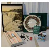 Box - Niagara falls print, Lennox plate rosary