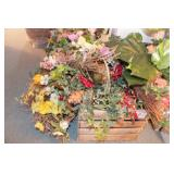 Baskets, Crates & silk flowers