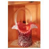 """Fenton Glass cranberry top hat Brides basket 13""""x9"""