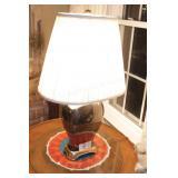 """Brass & Porcelain Lamp 28"""""""