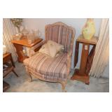 upholstered armchair w/ carving