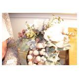 Stand w/ floral arrangement & porcelain goose