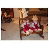 Dolls on bench (pair)