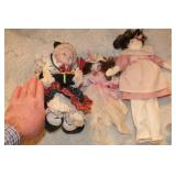 Dolls (3 pcs) 1 porcelain, 2 cloth