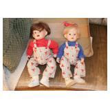 Porcelain dolls (2pcs) stripey overalls