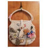 Woven handbag, Buick pin, broaches, hat pins