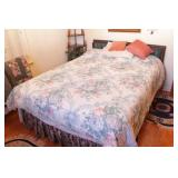 Full size bed - Blue Tuck & roll headboard