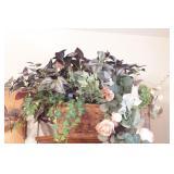 "Vintage Basket w/Faux Flowers 20 x 12 x 5"""