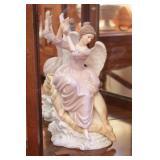 "Porcelain Angel & Shell Figure 12"""