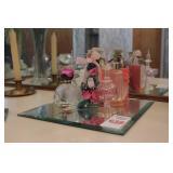"7pc Perfume Bottles & Beveled Mirror 10"" x 10"""